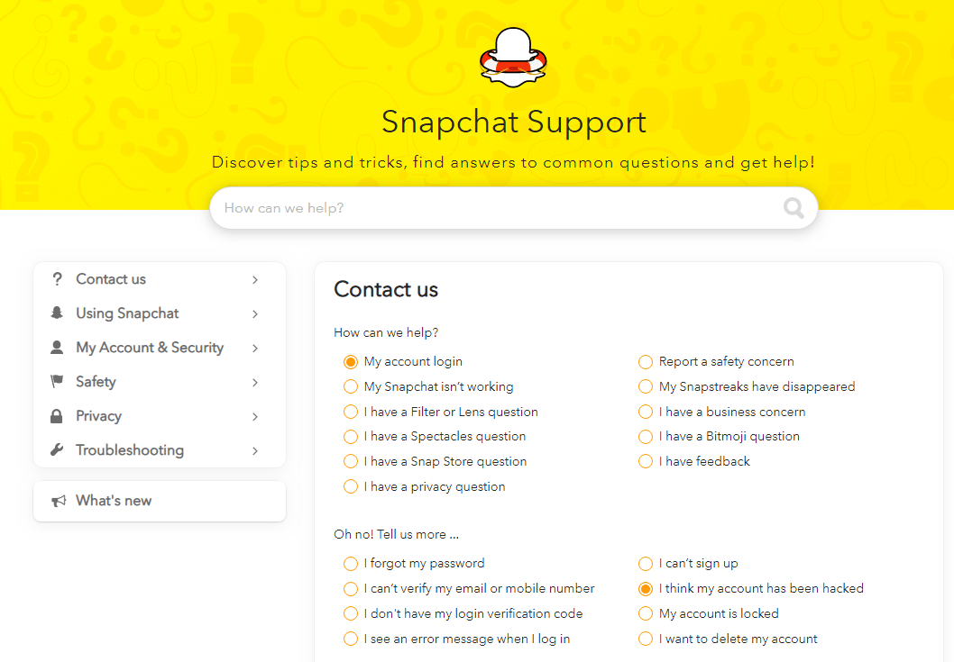 snapchat-support